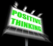 Positives denkendes Zeichen zeigt optimistische Betrachtung an stock abbildung