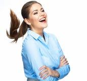 Positives Gefühlporträt der Geschäftsfrau Langes Bewegungshaar ISO Stockbilder