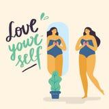 Positives Mädchen des Körpers mit gesunden Lebensstilblicken im Spiegel stock abbildung