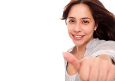 Positivism. Woman making a sign of positivism over white background Stock Photos