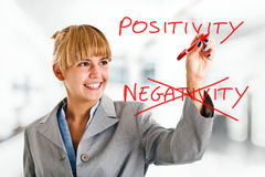 Positivity. Happy woman writing a positive concept on the screen stock images