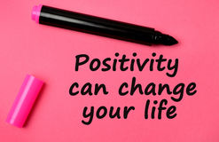 Positivity can change your life words Stock Image