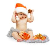Positivity child in Santa Claus red Royalty Free Stock Photo
