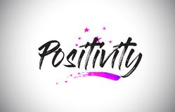 Free Positivity Handwritten Word Font With Vibrant Violet Purple Stars And Confetti Vector Stock Image - 142342491