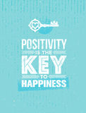 Positivity Is The Key To Happiness. Cute Motivation Quote. Vector Outstanding Typography Poster Concept. Stock Photo