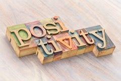 Positivity słowa abstrakt w drewnianym typ obraz royalty free