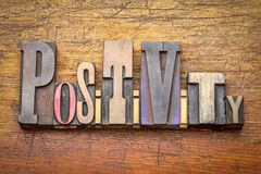 Positivity - word abstract in wood type Royalty Free Stock Photo