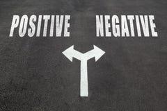 Positivo contra concepto bien escogido negativo Fotos de archivo libres de regalías