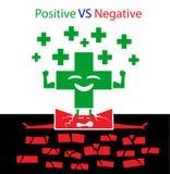 Positivo CONTRA concepto negativo Imagen de archivo libre de regalías
