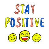 Positivo de la estancia - VECTOR el ejemplo con los smilyes felices dibujados mano Fotografía de archivo libre de regalías