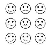 Positivo del disegno a tratteggio, segni neutrali negativi dell'icona di sorriso del fronte di vettore di opinione illustrazione vettoriale