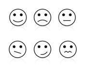 Positivo del disegno a tratteggio, segni neutrali negativi dell'icona di sorriso del fronte di vettore di opinione royalty illustrazione gratis