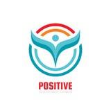 Positivo - ejemplo del concepto de la plantilla del logotipo del vector Muestra y círculos humanos del extracto del carácter Icon Fotos de archivo libres de regalías