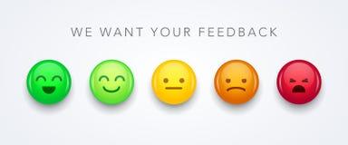 Positivo, neutral y negativa sonrientes del icono del emoji de los emoticons de diverso humor del concepto de la reacción de la e libre illustration