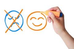 Positivt begrepp (leendet som, inte är ledsna) Fotografering för Bildbyråer