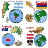Posizione Argentina, Armenia, Australia, Austria Immagine Stock Libera da Diritti