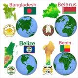 Posizione Bangladesh, Bielorussia, Belize, Benin Illustrazione di Stock