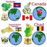 Posizione Cambogia, Canada, centrafricano, Repubblica del Chad Fotografie Stock Libere da Diritti