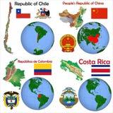 Posizione Cina, Cile, Colombia, Costa Rica Fotografia Stock Libera da Diritti
