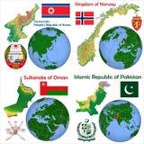 Posizione Corea del Nord, Norvegia, Oman, Pakistan Illustrazione Vettoriale
