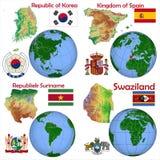 Posizione Corea del Sud, Spagna, Surinam, Swaziland Fotografia Stock Libera da Diritti