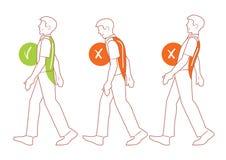 Posizione corretta della spina dorsale, cattiva posizione di camminata Immagine Stock
