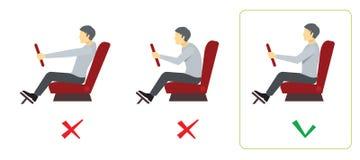 Posizione corretta della spina dorsale per il driver Infographics di vettore royalty illustrazione gratis