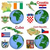 Posizione Costa d'Avorio, Croazia, Cuba, repubblica Ceca Fotografie Stock Libere da Diritti