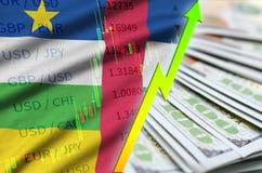 Posizione crescente del dollaro americano della bandiera e del grafico della Repubblica centroafricana con un fan delle banconote illustrazione vettoriale