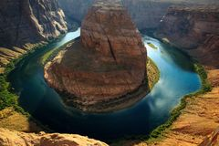 Posizione, curvatura a ferro di cavallo - pagina - l'Utah U.S.A. fotografia stock libera da diritti