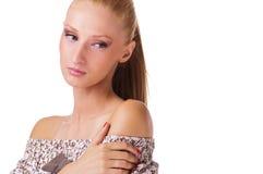 Posizione della giovane donna triste Fotografia Stock Libera da Diritti