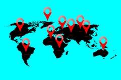 Posizione della mappa di mondo Immagine Stock Libera da Diritti