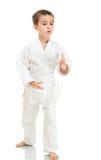 Posizione di combattimento del ragazzo di Aikido Immagini Stock