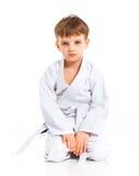 Posizione di combattimento del ragazzo di Aikido Immagine Stock