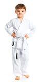 Posizione di combattimento del ragazzo di Aikido Fotografia Stock Libera da Diritti
