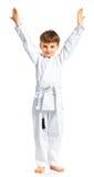 Posizione di combattimento del ragazzo di Aikido Fotografia Stock