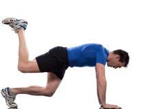 Posizione di forma fisica di allenamento dell'uomo Fotografie Stock Libere da Diritti