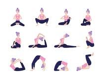 Posizione di formazione di armonia di yoga della donna dell'insieme immagine stock