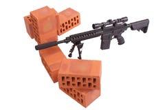 Posizione di funzionamento del fucile di tiratore franco Immagini Stock Libere da Diritti