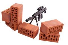 Posizione di funzionamento del fucile di tiratore franco Immagini Stock