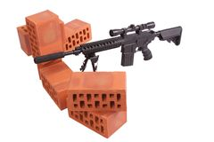 Posizione di funzionamento del fucile di tiratore franco Immagine Stock Libera da Diritti
