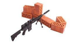 Posizione di funzionamento del fucile di tiratore franco Immagine Stock