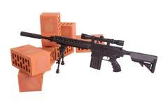 Posizione di funzionamento del fucile di tiratore franco Fotografia Stock Libera da Diritti