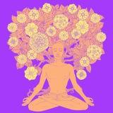 Posizione di loto di yoga Immagine Stock Libera da Diritti
