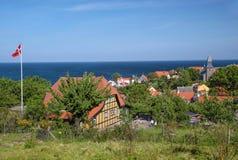 Posizione di vantaggio sopra Gudhjem su Bornholm Immagine Stock