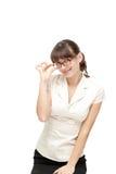 Posizione felice della donna di affari isolata Immagini Stock