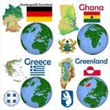 Posizione Germania, Ghana, Grecia, Groenlandia Fotografie Stock