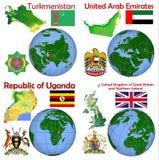 Posizione il Turkmenistan, Emirati Arabi Uniti, Uganda, Regno Unito Illustrazione Vettoriale