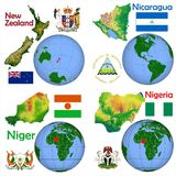 Posizione Nuova Zelanda, Nicaragua, Niger, Nigeria Immagine Stock