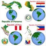 Posizione Panama, Paraguay, Perù, Filippine Illustrazione Vettoriale
